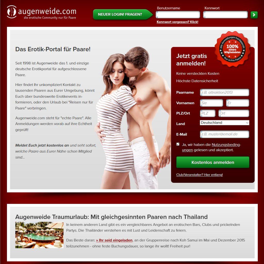 Erotische Community nur für Paare - augenweide.com
