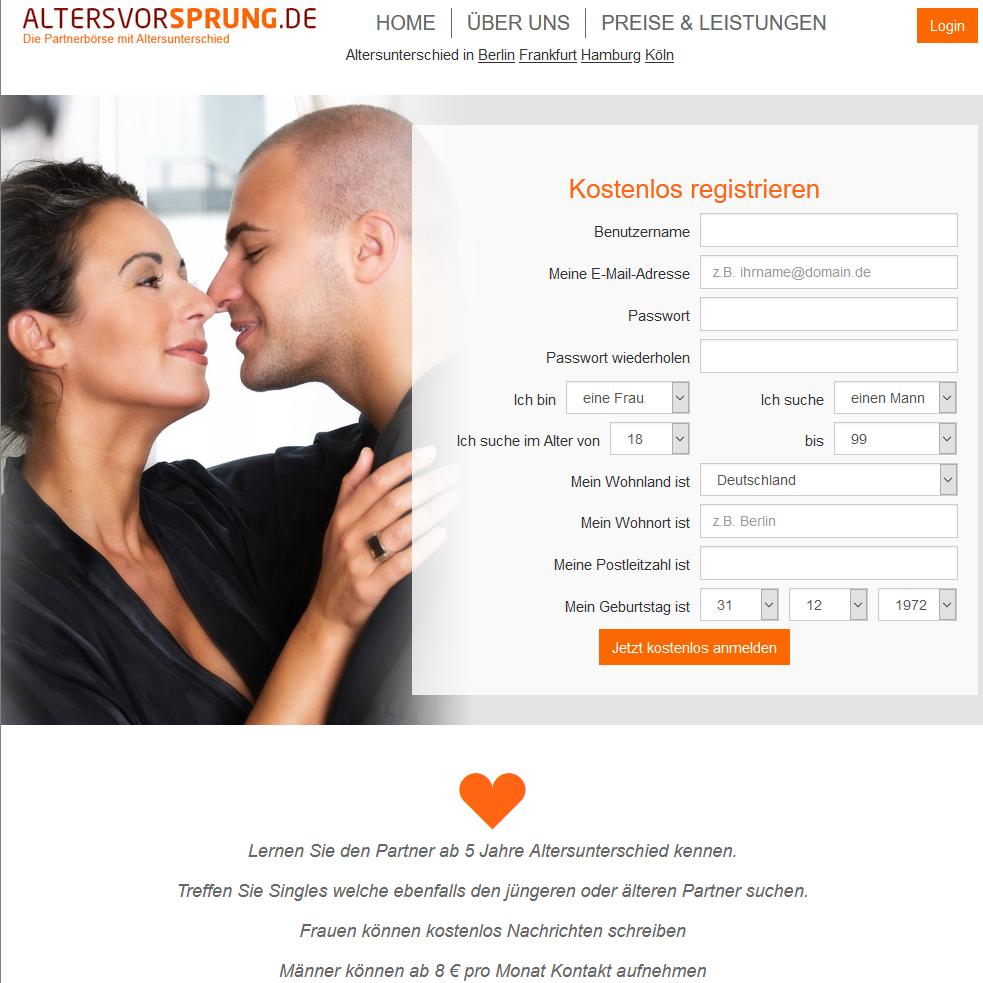 Datingseite für Singles mit Altersunterschied: Altersvorsprung.de